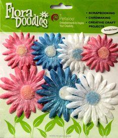 Petaloo Flora Doodles Glitter Daisy Layers Flowers are available at Scrapbookfare.com.