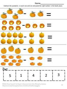 fall math center count pumpkins p k k special education fine motor cut and paste. Black Bedroom Furniture Sets. Home Design Ideas
