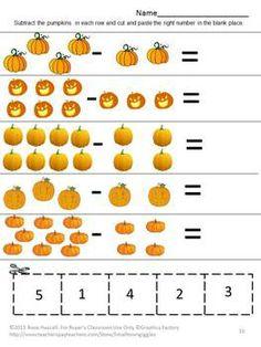 fall math center count pumpkins p k k special education fine motor cut and paste. Black Bedroom Furniture Sets. Home Design Ideas