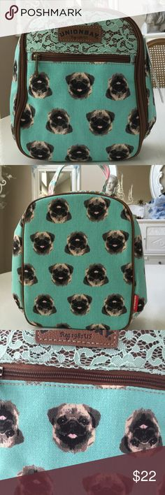 "Union Bay Pug Lunch Bag Absolutely adorable lunch bag adorned in Pug dogs! Outside zip pocket & inside open mesh pocket. 4.5"" handle drop. NWT Unionbay Bags"