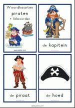 Woordkaarten Piraten - klein + lidwoorden Pirate Theme, Peter Pan, Sailing, Letters, Baseball Cards, Comics, School, Projects, Kids