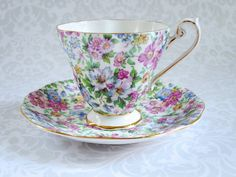 Tea Cup and Saucer Summer Pink Floral Chintz  by SwirlingOrange11
