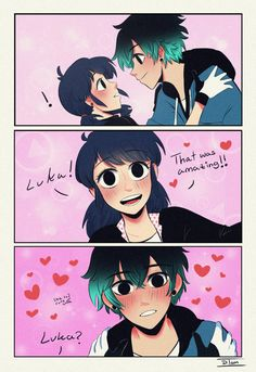 My undying love for Lukanette is strong! I have this headcanon that Luka likes to make Marinette blush cause he loves seeing how she acts, but when she's genuinely happy about what he does/says he. Ladybug Y Cat Noir, Meraculous Ladybug, Ladybug Comics, Ladybug Cakes, Lady Bug, Luka Miraculous Ladybug, Marinette Et Adrien, Animation, Bugaboo