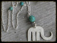 Fork Elephant Necklace with Czech Glass Bead www.laughingfrogstudio.net $24
