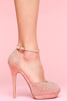 Blush pumps with gunmetal crystal detailing. Edgy and sexy!