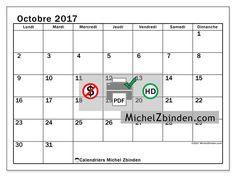 Calendrier à imprimer octobre 2017 - Tiberius - France