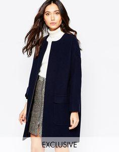 Image 1 ofHelene Berman Navy Zip Front Collarless Coat