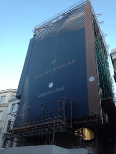 #Banners & #GiantMedia from Alpha. Over 2000 sqm of #buildingWrap in #London Mesh PVC stretched around a scaffold