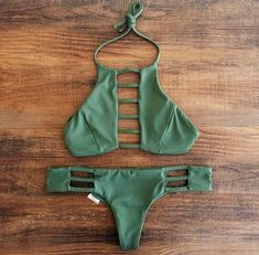 Army green, military-inspired bikini