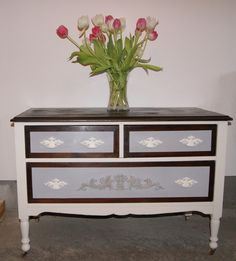 Painted Dresser on Antique White and Grey with Stained Top Dresser Tv Stand, Grey Dresser, Java Gel Stains, Cabinet Paint Colors, Painted Furniture, Refinished Furniture, Linen Storage, Painting Kitchen Cabinets, Painting Tips