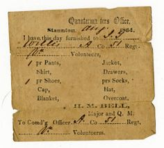 Receipts for uniforms issued to Confederate soldiers of Co. A, 51st Va. Inf. Regt., by the Quartermaster's office in Staunton, Va.
