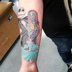 nightmare before christmas tattoos sleeves Forearm Tattoos, Body Art Tattoos, Girl Tattoos, Sleeve Tattoos, Tatoos, Jack Tattoo, Tattoo Set, I Tattoo, Nightmare Before Christmas Tattoo