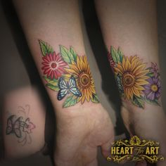 Flower Cover up tattoo - Flowers Butterfly