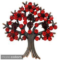 Bronzetone Crystal 'Tree in Full Bloom' Brooch