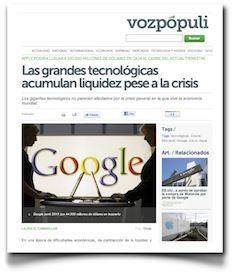Hablando sobre los niveles de tesorería de las tecnológicas, en VozPópuli