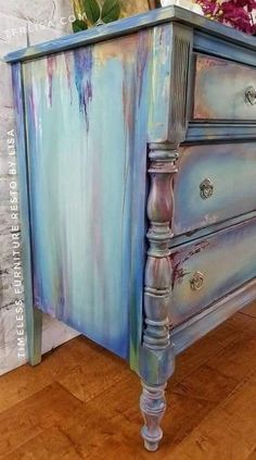 Hometalk – painted furniture – painted dresser – distressed MCM Dresser Graphic Paint MakeoverDIY Custom Dresser Unique and Antic Distressed Furniture IdeasHow To Use Gilding Wax on Painted Furniture