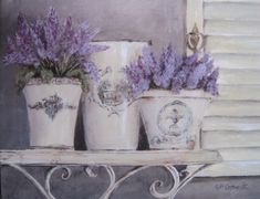 """Ready to Frame Print - Assorted Lavender on a Shelf - Postage is included Worldwide Measuring 20 x x approx. Taken from the Original """"Assorted Lavender on a Shelf"""" Painting by Gail McCormack Estilo Shabby Chic, Shabby Chic Style, Etiquette Vintage, Decoupage Paper, Decoupage Ideas, Container Flowers, Flower Images, Plant Decor, Botanical Prints"""