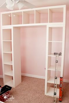 IKEA Expedit hack - I'd use this in a closet, with garments rails in between . - Bed House IKEA Expedit hack – I'd use this in a closet, with garments rails in between the cabinets & cro Storage Hacks, Wall Storage, Bedroom Storage, Storage Ideas, Craft Storage, Cube Storage, Extra Storage, Storage Design, Ikea Storage Solutions