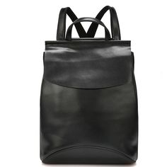 European and American Style Fashionable Large and Soft Cow Split Leather Backpacks for Ladies in Black
