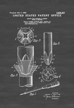 A patent print poster of the Phillips Screw and Driver (called Means for Uniting A Screw with a Driver).  The patent was issued by the United States Patent Office on July 7, 1936. This is in essence the patent for both the Phillips screw and Phillips Head Screw Driver. It was invented by Henry ...