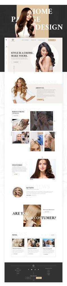 Beauty salon - Website Design on Behance Portfolio Website Design, Website Design Layout, Homepage Design, Wordpress Website Design, Newsletter Design, Website Design Inspiration, Layout Design, Website Designs, Ui Inspiration