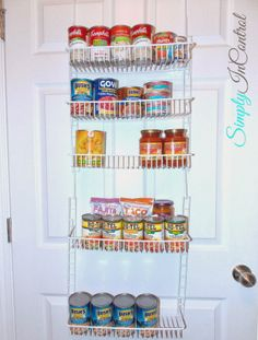Small Pantry Organization - over the door pantry organizers are LIFE SAVERS for those who live in apartments. Emergency food should be stocked up here.