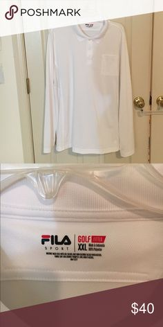 3 for 15 Fila golf shirt Basic white. Long sleeve Fila fitted golf shirt. Never worn.Buy 3 men's shirts for $15 Fila Shirts Polos