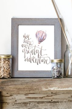 You are Our Greatest Adventure Hot Air Balloon by WinsomeEasel, $12.00