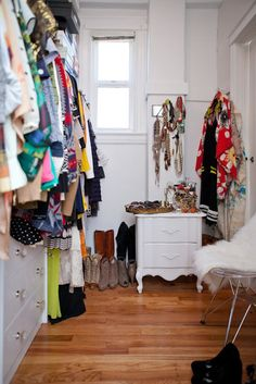 Krystal Bick's closet space filled with bright, colourful, & sparkly clothes, shoes, & jewellery. Do not ever buy fur :) Let them be free