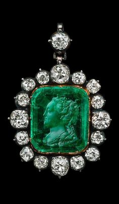 Provenance: Empress Ekaterina II of Russia - An antique silver, gold, diamond and emerald intaglio pendant, 18th century. #EmpressEkaterina #antique