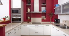 Gallery of red kitchen ideas. See designs for red kitchen cabinets, decor, islands, chairs and bar stools to create an appealing cooking & dining space Kitchen Cabinet Hardware, Red Kitchen, White Kitchen Cabinets, Closed Kitchen, Space Kitchen, Mini Kitchen, Base Cabinets, Kitchen Appliances, Kitchen Furniture
