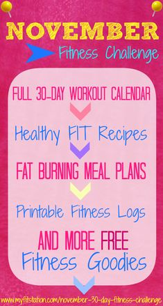 """The """"November 30 day Fitness Challenge"""" is on! Grab your printable workout calendars #fitfam ((via www.myfitstation.com))"""