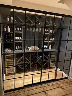 New Yorker style sliding doors or as a room divider.  New Yorker stil skillevægge eller skydedøre fx. til vinrum eller Walk In. Glass Wine Cellar, Home Wine Cellars, Wine Cellar Design, Caves, Under Stairs Wine Cellar, Indoor Bar, Wine Rack Storage, Luxury Bar, Wine Wall