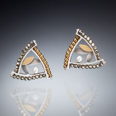 Mixed metal triangle earrings #earring #handmade #jewelry #silver #gold