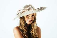Ivory Sinamay Hat, Ladies Hat, Disc Hat, Ascot Hat, Mother of Bride