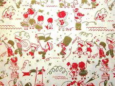 Vintage Wrapping Paper - Children's Parade - Full Sheet Silk Screen Gift Wrap on Etsy, $6.00