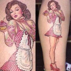 9 anregendsten Pin Up Tattoo Designs für Mädchen - Tattoo Ideas - Tattoo Pin Up Girl Tattoo, Pin Up Tattoos, Body Art Tattoos, Girl Tattoos, Sleeve Tattoos, Tatoos, Rockabilly Tattoos, Rockabilly Tattoo Designs, Baking Tattoo