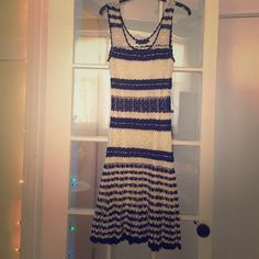 """Gorgeous black and white crochet BCBG dress. Only worn once. In excellent condition. Bust 14"""" length 45"""" no zipper, slip on dress with lining. Sexy, classy, and elegant. BCBGMaxAzria Dresses"""