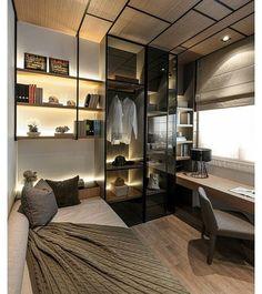 Dormitório, home office ou closet? Não sei te dizer a definição deste espaço multi tarefa e muito bem composto! Acabamentos como vidro reflexivo e os detalhes no forro deram personalidade ao local! #instadecor #decor #interiordesign #designdeinteriores