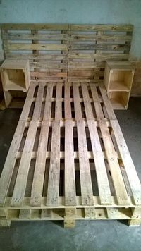 Pallet Bed Frame with Side tables and Headboard - 30 Easy Pallet Ideas for the Home | Pallet Furniture #DIY