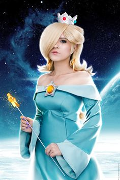 Princess Rosalina Cosplay from Super Mario Galaxy. Stylized Wig, Costume, makeup, accessories and props made and modeled by me. Mario Cosplay, Cosplay Games, Cute Cosplay, Cosplay Dress, Amazing Cosplay, Halloween Cosplay, Cosplay Outfits, Cosplay Costumes, Halloween Costumes