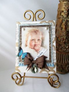 Handmade Card Vintage-Style New Baby Congratulations Greeting Chic Boy butterfly Bessie Pease Gutmann welcome victorian