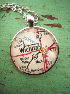 Vintage Wichita Kansas Map Pendant Necklace