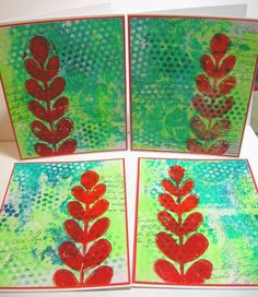 handmade by Jessica - Gelli printed notecards