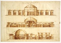 Conjectural reconstruction of the Baths of Agrippa, Rome (c. by Andrea Palladio RIBA Library Drawings Collectio Rome Architecture, Indian Architecture, Architecture Drawings, Historical Architecture, Classical Architecture, Andrea Palladio, Luca Pacioli, Fine Art Prints, Framed Prints