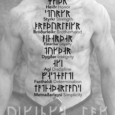Exclusive Víkinga Code card design. Front shows Víkinga Lög (Viking Code) in Rök (Norwegian variation of the Younger Futhark in use during the Viking age), in norrœnt (Old Norse), and in English, with the NORSKK Viking in the background with the NORSKK logo painted in his chest in blood. Back shows