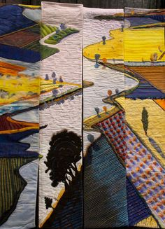 Over the RIver and Through the Farms map art quilt by Donna Brennan, Jenny K Lyon, Anita Marshall, Margo Wilson – Homage to Wayne Theibaud.