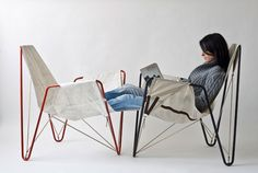 dvelas reusail project recycles discarded sails in trimmer chair - designboom   architecture & design magazine