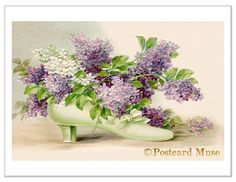 Victorian Shoe With Lilac Vintage Postcard Image Greeting Card FF003. $7.95, via Etsy.