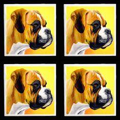 Boxer Dog Coaster Set Art tile from Original by RMBArtStudio